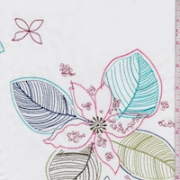 White/Turquoise/Pink Embroidered Floral Stretch
