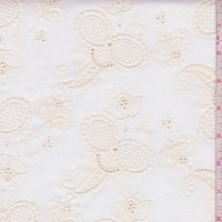 Cream Embroidered Stylized Paisley Twill