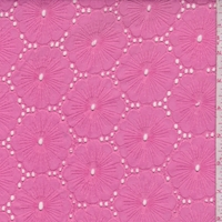 Dark Pink Embroidered Floral Eyelet