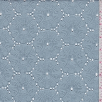 Dusty Blue Embroidered Floral Eyelet