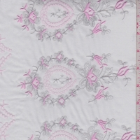 White/Silver/Pink Embroidered Medallion Cotton