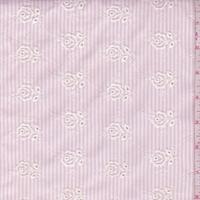Pink/White Stripe Embroidered Floral Seersucker