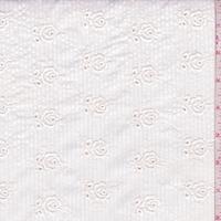 Pearl/White Stripe Embroidered Floral Seersucker