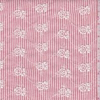 Garnet/White Stripe Embroidered Floral Seersucker