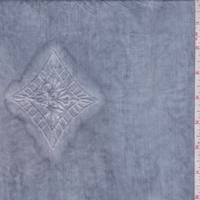 Misty Blue Embroidered Diamond Rayon Lawn