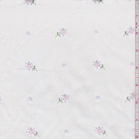 White/Pale Pink Embroidered Floral Cotton