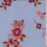 Blue/White Pinstripe Embroidered Floral