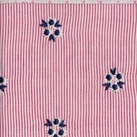 Red/White Stripe Embroidered Floral Seersucker