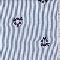 Blue/White Stripe Embroidered Floral Seersucker