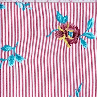 Deep Red/White Stripe Embroidered Floral Seersucker