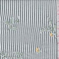 Forest/White Stripe Embroidered Floral Seersucker