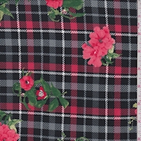 Black/Coral Plaid Floral Double Brushed Jersey Knit