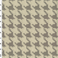 *1 1/8 YD PC--Gray/Ivory Houndstooth Jacquard Home Decorating Fabric