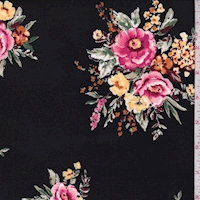 Black/Pink Floral Bouquet Double Brushed Jersey Knit