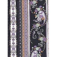 Black/Lilac/White Floral Stripe Cotton