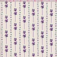 Ecru/Purple Mini Floral Stripe Cotton