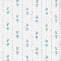 Pale Cream/Blue Mini Floral Stripe Cotton