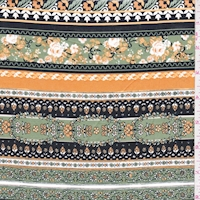 Black/Orange/Jade Floral Stripe Cotton