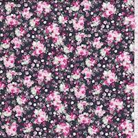 Black/Pink/Jade Mini Floral Cluster Cotton