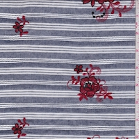 Dark Navy Stripe Embroidered Floral Linen Look