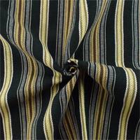 *1 1/2 YD PC--Black/Multi Linen/Cotton Stripe�Home Decorating Fabric
