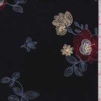 Black Embroidered Floral Crinkle Polyester