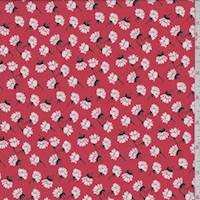 *1 1/2 YD PC--Coral Red Tossed Floral Georgette
