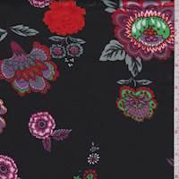 *3 YD PC--Black/Orange/Fuchsia Floral Satin Charmeuse