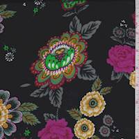 *3 YD PC--Black/Magenta/Lime Floral Polyester Satin Charmeuse