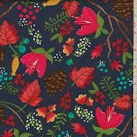 *3 5/8 YD PC--Indigo Blue Foilage Print Cotton