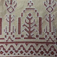 *1 YD PC--Suntan/Rust Embroidered Aztec Rayon Challis