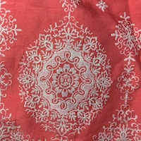 *1 YD PC--Coral Red/Ivory Embroidered Medallion Rayon Challis
