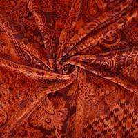 *3 3/4 YD PC--Maroon/Sunset Red Paisley Bandana Printed Velvet Knit