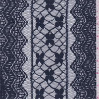 *1 YD PC--Dusk Blue Stripe Embroidered Lace