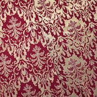 *1 YD PC--Red/Gold Baroque Stretch Brocade