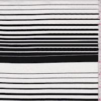 *2 7/8 YD PC--White/Black Wool Blend Stripe Double Knit