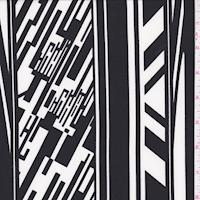 *1 1/2 YD PC--ITY Black/White Digital Stripe Nylon Jersey Knit