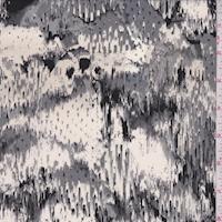 Ivory/Grey/Black Snakeskin Silk Crepe de Chine