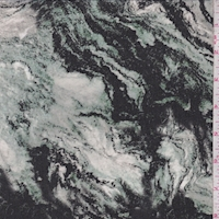 Jade/Black Marble Swirl Silk Crepe de Chine