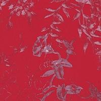 Crimson/Lavender Floral Print Silk Crepe de Chine
