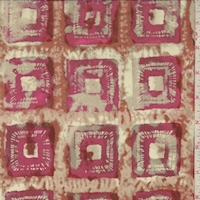 Fuchsia/Rust Batik Square Silk Crepe de Chine