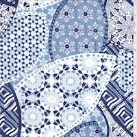 Dusty Blue/Navy Kaleidescope Print Challis