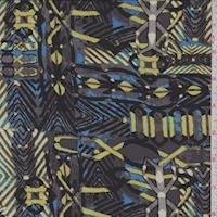 Pewter/Citron/Blue Inca Silk Georgette
