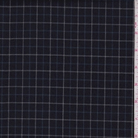 Navy/Blue Check Wool Blend Twill Suiting