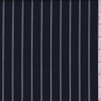 Navy Stripe Gabardine Suiting