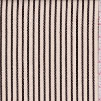 Cream/Mocha Rope Stripe Twill Decorating Fabric