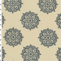 *2 7/8 YD PC--Blue/Ivory Floral Medallion Woven Home Decorating Fabric