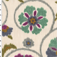 *3 1/4 YD PC--White/Purple/Multi Ikat Floral Home Decorating Fabric