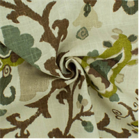 * 1 3/4 YD PC--Brown/Multi Floral Print Woven Home Decorating Fabric