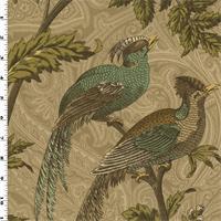 *5 3/8 YD PC--Beige/Multi Paisley Bird Printed Twill Decorating Fabric